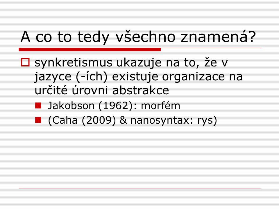 A co to tedy všechno znamená?  synkretismus ukazuje na to, že v jazyce (-ích) existuje organizace na určité úrovni abstrakce Jakobson (1962): morfém