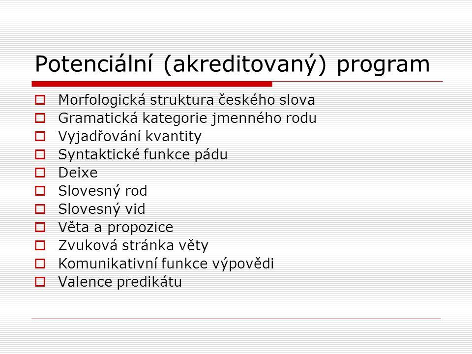 Potenciální (akreditovaný) program  Morfologická struktura českého slova  Gramatická kategorie jmenného rodu  Vyjadřování kvantity  Syntaktické funkce pádu  Deixe  Slovesný rod  Slovesný vid  Věta a propozice  Zvuková stránka věty  Komunikativní funkce výpovědi  Valence predikátu