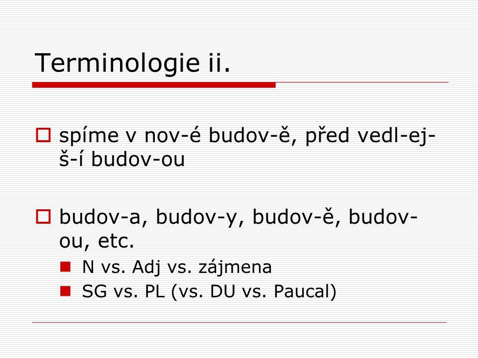 Terminologie ii.  spíme v nov-é budov-ě, před vedl-ej- š-í budov-ou  budov-a, budov-y, budov-ě, budov- ou, etc. N vs. Adj vs. zájmena SG vs. PL (vs.