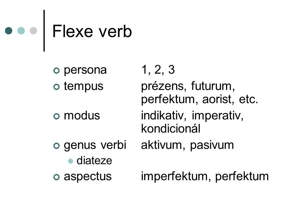 Flexe jmen numerusSG, PL, DU genusMA, MI, F, N casusNOM, GEN, DAT, ACC, VOK, LOC, INS ERG, ABS ablativ, adessive, allative, illative, elativ, inessiv, etc.