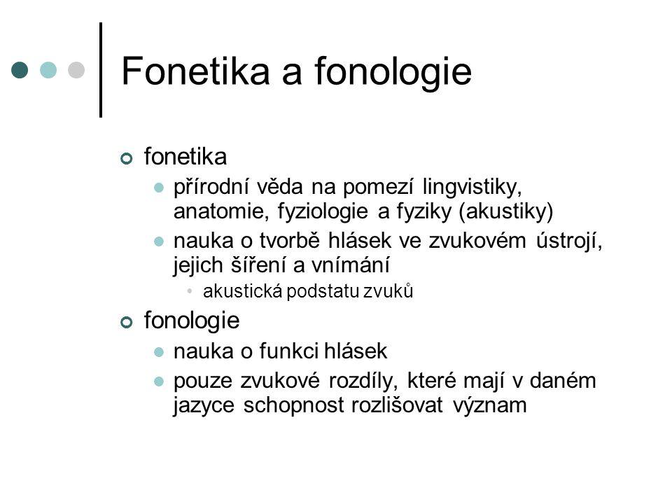 Fonetika a fonologie fonetika přírodní věda na pomezí lingvistiky, anatomie, fyziologie a fyziky (akustiky) nauka o tvorbě hlásek ve zvukovém ústrojí, jejich šíření a vnímání akustická podstatu zvuků fonologie nauka o funkci hlásek pouze zvukové rozdíly, které mají v daném jazyce schopnost rozlišovat význam