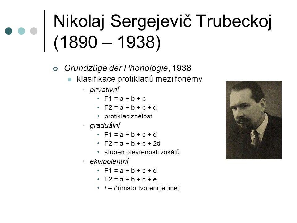 Nikolaj Sergejevič Trubeckoj (1890 – 1938) Grundzüge der Phonologie, 1938 klasifikace protikladů mezi fonémy privativní F1 = a + b + c F2 = a + b + c + d protiklad znělosti graduální F1 = a + b + c + d F2 = a + b + c + 2d stupeň otevřenosti vokálů ekvipolentní F1 = a + b + c + d F2 = a + b + c + e t – ť (místo tvoření je jiné)