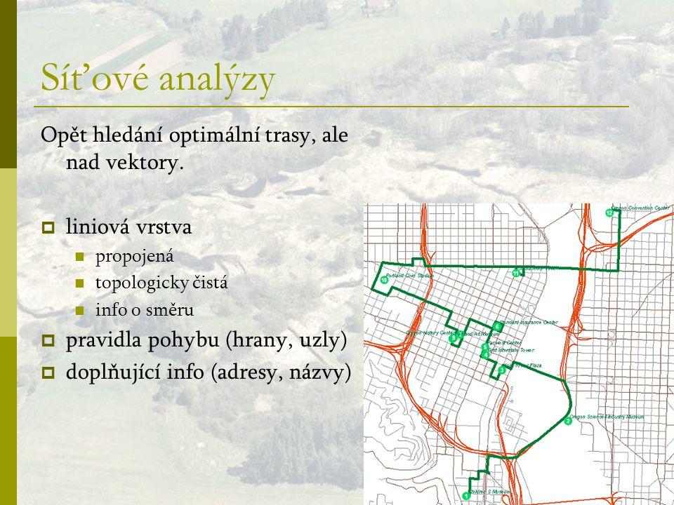 Síťové analýzy Opět hledání optimální trasy, ale nad vektory.  liniová vrstva propojená topologicky čistá info o směru  pravidla pohybu (hrany, uzly