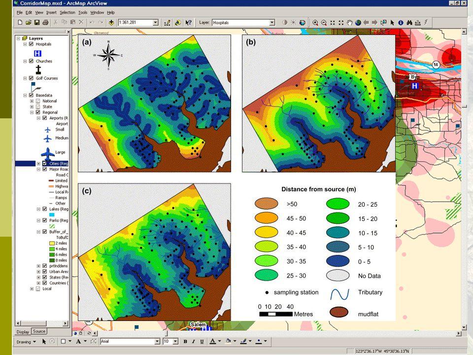 """Vzdálenostní analýzy  přímá (euklidovská) vzdálenost (""""vzdušnou čarou"""") obalová zóna (buffer)  vážená vzdálenost (weighted distance)  analýzy souse"""