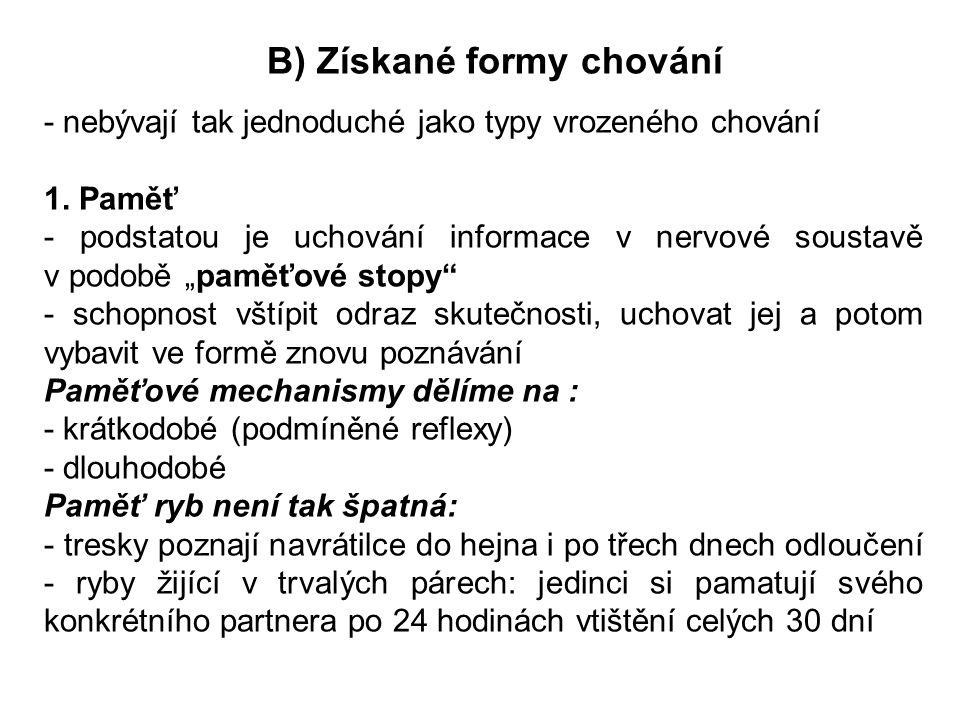 B) Získané formy chování - nebývají tak jednoduché jako typy vrozeného chování 1. Paměť - podstatou je uchování informace v nervové soustavě v podobě