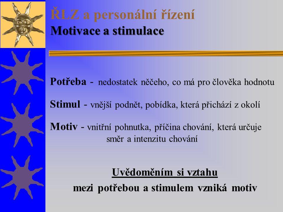 Motivace a stimulace ŘLZ a personální řízení Motivace a stimulace Potřeba - nedostatek něčeho, co má pro člověka hodnotu Stimul - vnější podnět, pobíd