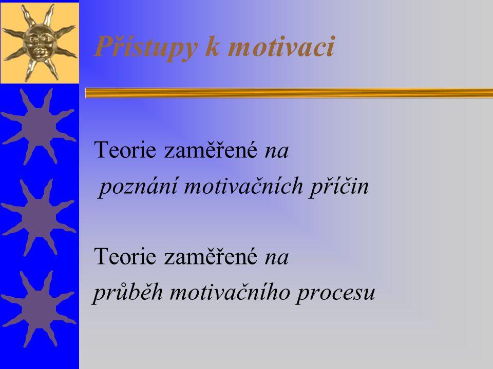 Přístupy k motivaci Teorie zaměřené na poznání motivačních příčin Teorie zaměřené na průběh motivačního procesu