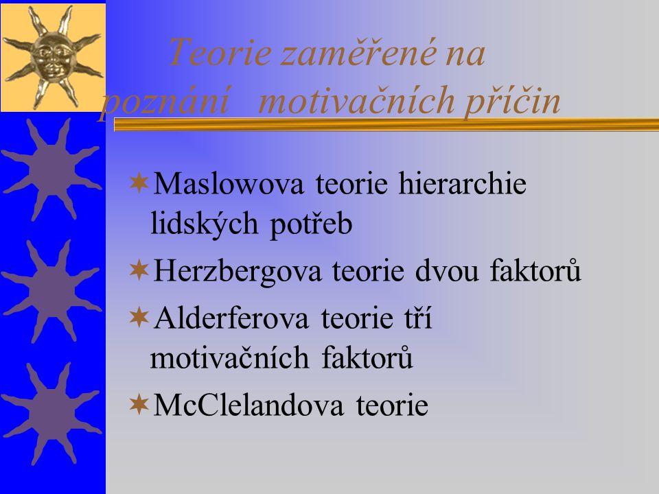 Teorie zaměřené na poznání motivačních příčin  Maslowova teorie hierarchie lidských potřeb  Herzbergova teorie dvou faktorů  Alderferova teorie tří