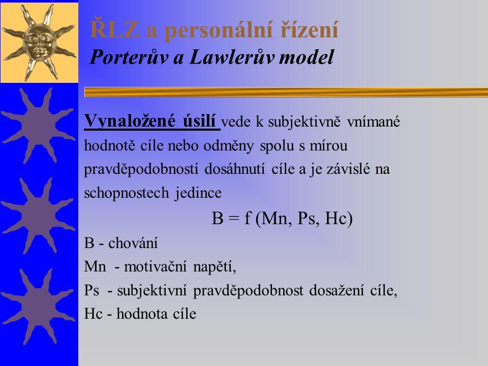 ŘLZ a personální řízení Porterův a Lawlerův model Vynaložené úsilí vede k subjektivně vnímané hodnotě cíle nebo odměny spolu s mírou pravděpodobností