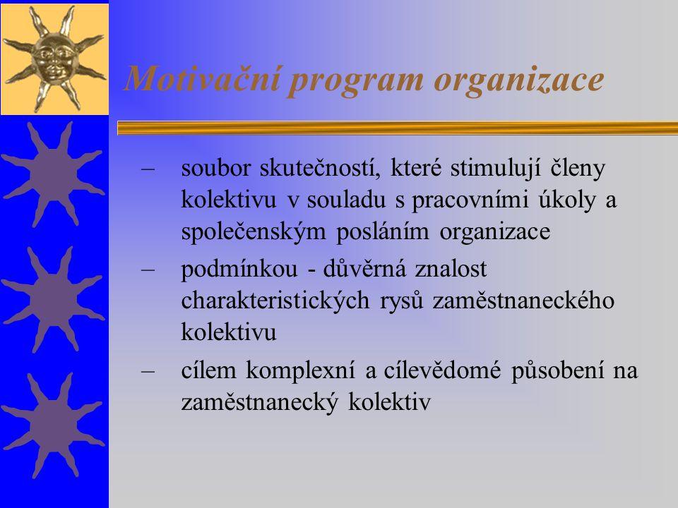 Motivační program organizace –soubor skutečností, které stimulují členy kolektivu v souladu s pracovními úkoly a společenským posláním organizace –pod