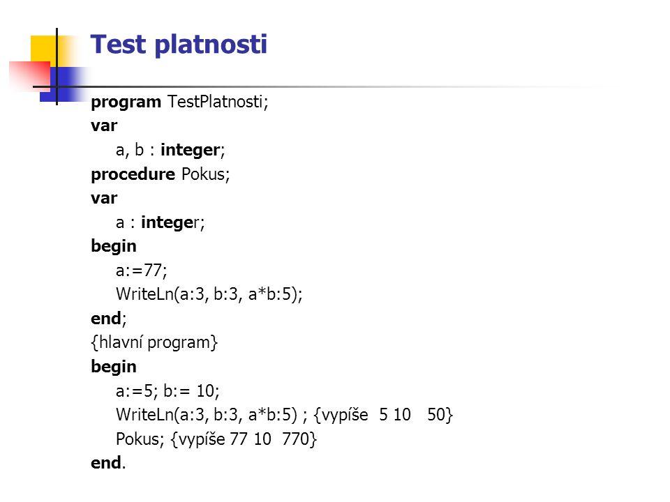 Test platnosti program TestPlatnosti; var a, b : integer; procedure Pokus; var a : integer; begin a:=77; WriteLn(a:3, b:3, a*b:5); end; {hlavní program} begin a:=5; b:= 10; WriteLn(a:3, b:3, a*b:5) ; {vypíše 5 10 50} Pokus; {vypíše 77 10 770} end.