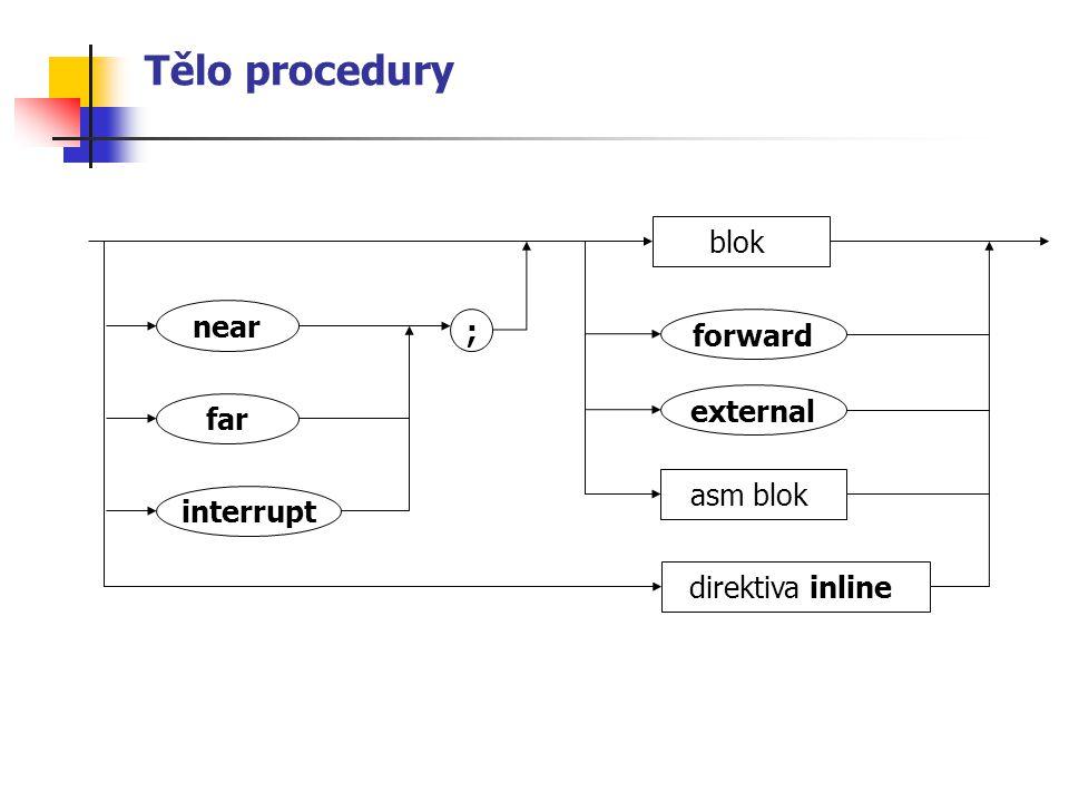 Tělo procedury blok asm blok direktiva inline near interrupt far forward external ;