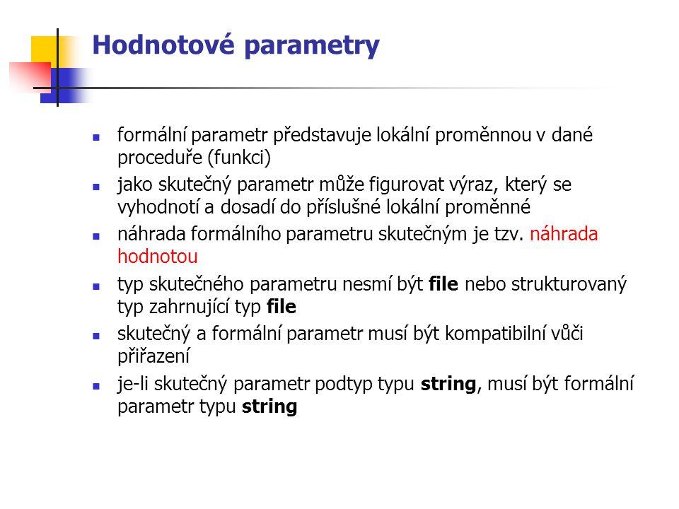 Hodnotové parametry formální parametr představuje lokální proměnnou v dané proceduře (funkci) jako skutečný parametr může figurovat výraz, který se vyhodnotí a dosadí do příslušné lokální proměnné náhrada formálního parametru skutečným je tzv.