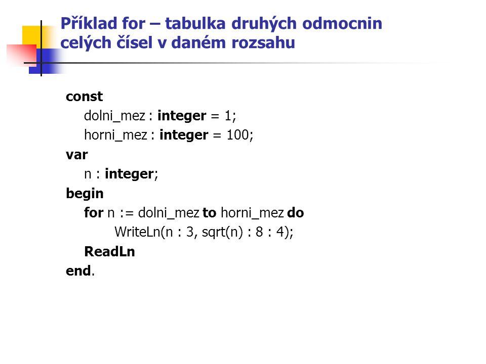 Příklad for – tabulka druhých odmocnin celých čísel v daném rozsahu const dolni_mez : integer = 1; horni_mez : integer = 100; var n : integer; begin for n := dolni_mez to horni_mez do WriteLn(n : 3, sqrt(n) : 8 : 4); ReadLn end.