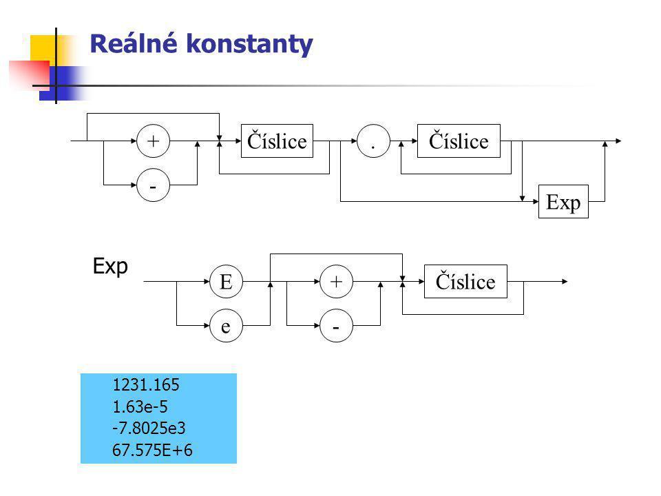 Reálné konstanty 1231.165 1.63e-5 -7.8025e3 67.575E+6 Číslice - +. Exp - + e EČíslice Exp
