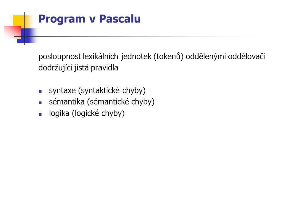Program v Pascalu posloupnost lexikálních jednotek (tokenů) oddělenými oddělovači dodržující jistá pravidla syntaxe (syntaktické chyby) sémantika (sém