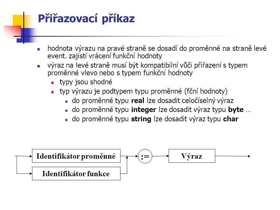 Přiřazovací příkaz hodnota výrazu na pravé straně se dosadí do proměnné na straně levé event. zajistí vrácení funkční hodnoty výraz na levé straně mus