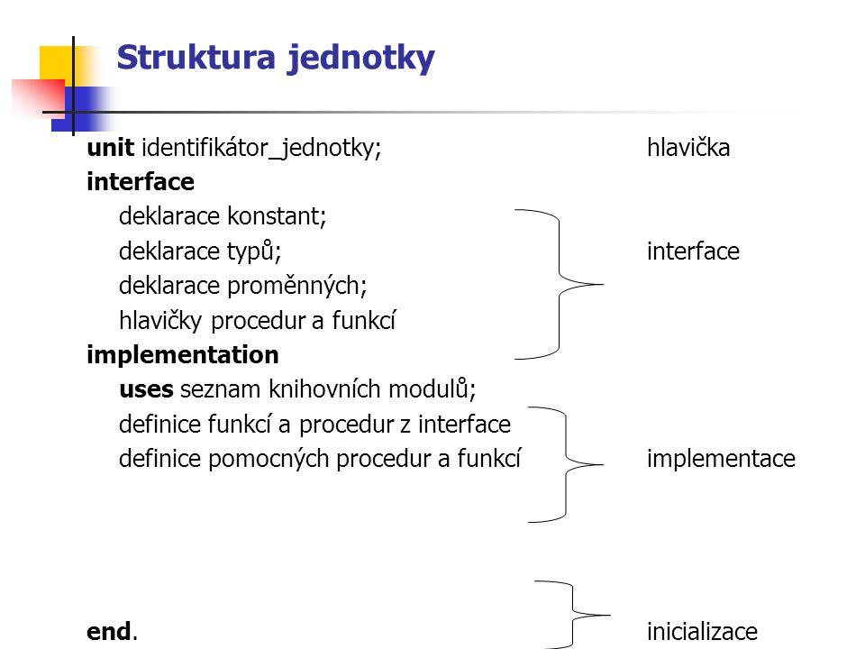 Struktura jednotky unit identifikátor_jednotky;hlavička interface deklarace konstant; deklarace typů;interface deklarace proměnných; hlavičky procedur a funkcí implementation uses seznam knihovních modulů; definice funkcí a procedur z interface definice pomocných procedur a funkcíimplementace end.inicializace