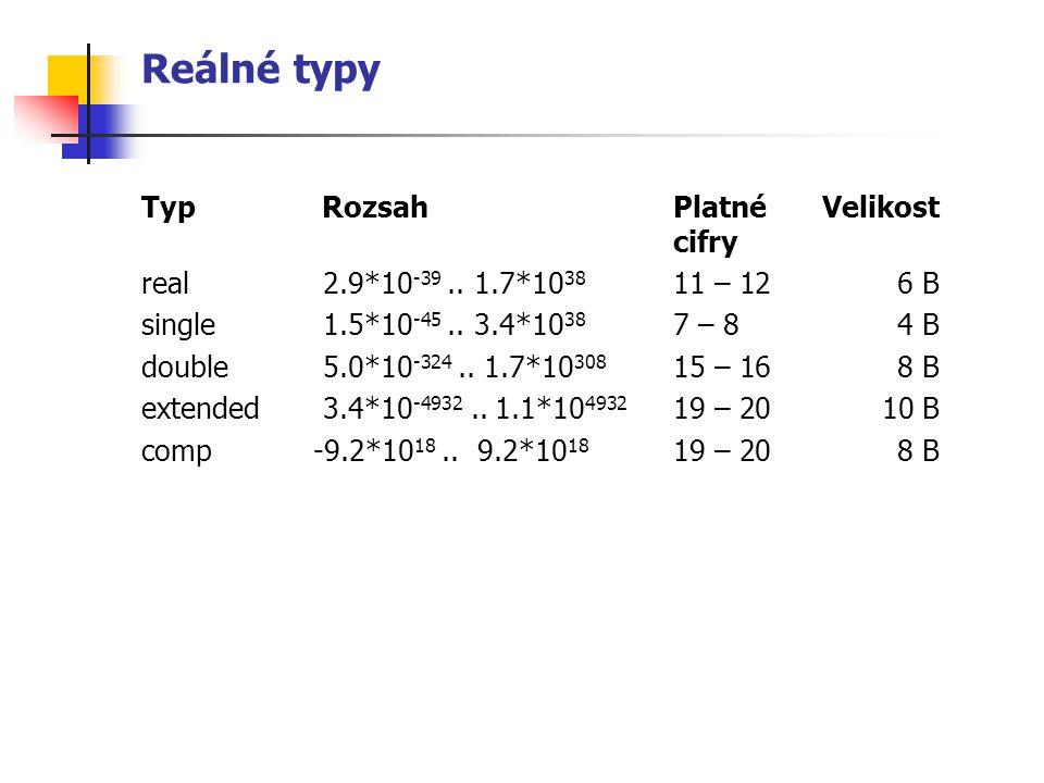 Reálné typy Typ RozsahPlatnéVelikost cifry real 2.9*10 -39.. 1.7*10 38 11 – 126 B single 1.5*10 -45.. 3.4*10 38 7 – 8 4 B double 5.0*10 -324.. 1.7*10