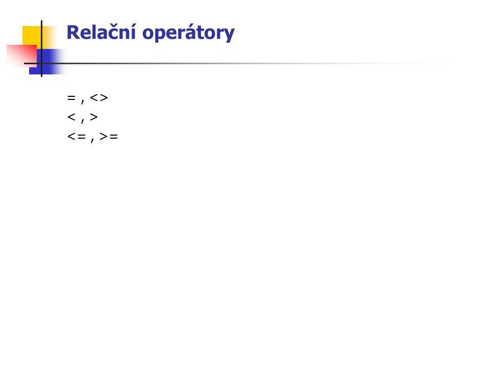 Výčtový typ je uživatelsky definovaný definuje se seznamem identifikátorů reprezentujících hodnoty tohoto typu jde o seznam pojmenovaných konstant první konstanta má hodnotu 0, druhá 1, … výskyt identifikátoru představuje jeho zavedení jako identifikátoru konstanty příslušného typu výčtový typ je ordinální – na operandy (téhož) výčtového typu mohou být aplikovány relační operátory standardní funkce ord (x), succ (x), pred(x) výčtový typ nelze přímo použít na vstupu ani výstupu