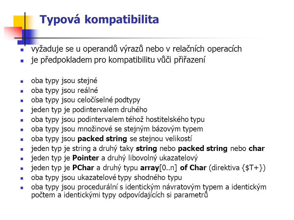 Typová kompatibilita vyžaduje se u operandů výrazů nebo v relačních operacích je předpokladem pro kompatibilitu vůči přiřazení oba typy jsou stejné oba typy jsou reálné oba typy jsou celočíselné podtypy jeden typ je podintervalem druhého oba typy jsou podintervalem téhož hostitelského typu oba typy jsou množinové se stejným bázovým typem oba typy jsou packed string se stejnou velikostí jeden typ je string a druhý taky string nebo packed string nebo char jeden typ je Pointer a druhý libovolný ukazatelový jeden typ je PChar a druhý typu array[0..n] of Char (direktiva {$T+}) oba typy jsou ukazatelové typy shodného typu oba typy jsou procedurální s identickým návratovým typem a identickým počtem a identickými typy odpovídajících si parametrů