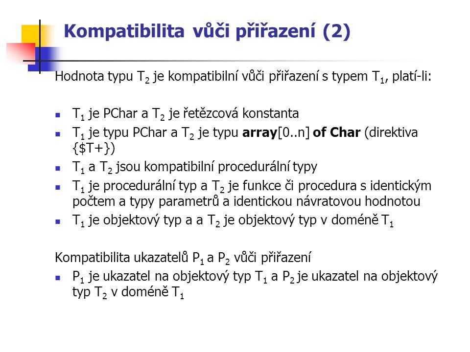 Kompatibilita vůči přiřazení (2) Hodnota typu T 2 je kompatibilní vůči přiřazení s typem T 1, platí-li: T 1 je PChar a T 2 je řetězcová konstanta T 1 je typu PChar a T 2 je typu array[0..n] of Char (direktiva {$T+}) T 1 a T 2 jsou kompatibilní procedurální typy T 1 je procedurální typ a T 2 je funkce či procedura s identickým počtem a typy parametrů a identickou návratovou hodnotou T 1 je objektový typ a a T 2 je objektový typ v doméně T 1 Kompatibilita ukazatelů P 1 a P 2 vůči přiřazení P 1 je ukazatel na objektový typ T 1 a P 2 je ukazatel na objektový typ T 2 v doméně T 1