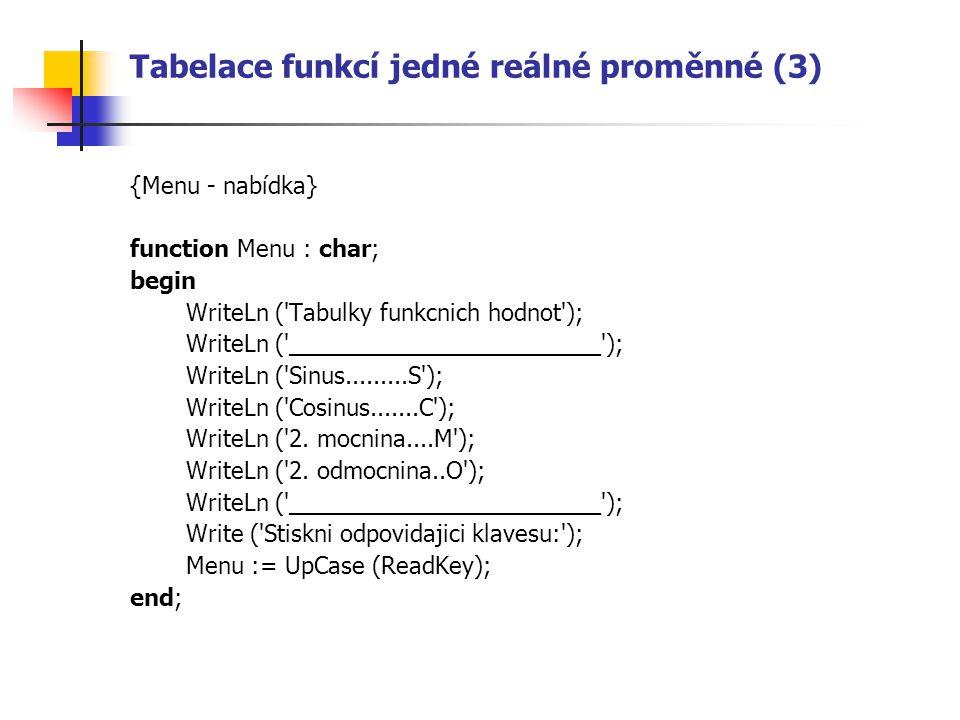 Tabelace funkcí jedné reálné proměnné (3) {Menu - nabídka} function Menu : char; begin WriteLn ( Tabulky funkcnich hodnot ); WriteLn ( ________________________ ); WriteLn ( Sinus.........S ); WriteLn ( Cosinus.......C ); WriteLn ( 2.