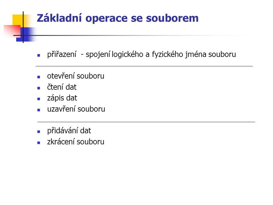 Základní operace se souborem přiřazení - spojení logického a fyzického jména souboru otevření souboru čtení dat zápis dat uzavření souboru přidávání d