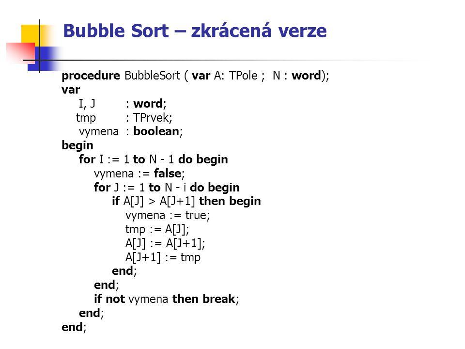 Bubble Sort – zkrácená verze procedure BubbleSort ( var A: TPole ; N : word); var I, J : word; tmp : TPrvek; vymena : boolean; begin for I := 1 to N -