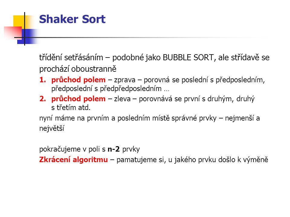 Shaker Sort třídění setřásáním – podobné jako BUBBLE SORT, ale střídavě se prochází oboustranně 1.průchod polem – zprava – porovná se poslední s předposledním, předposlední s předpředposledním … 2.průchod polem – zleva – porovnává se první s druhým, druhý s třetím atd.