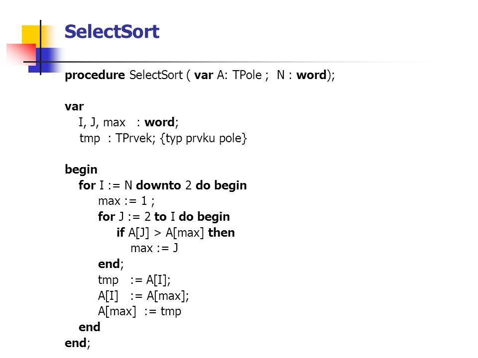 SelectSort procedure SelectSort ( var A: TPole ; N : word); var I, J, max : word; tmp : TPrvek; {typ prvku pole} begin for I := N downto 2 do begin ma