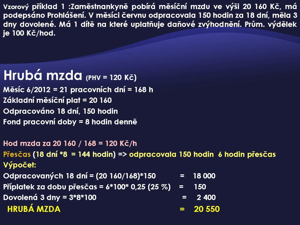 Hrubá mzda ( PHV = 120 Kč) Měsíc 6/2012 = 21 pracovních dní = 168 h Základní měsíční plat = 20 160 Odpracováno 18 dní, 150 hodin Fond pracovní doby =