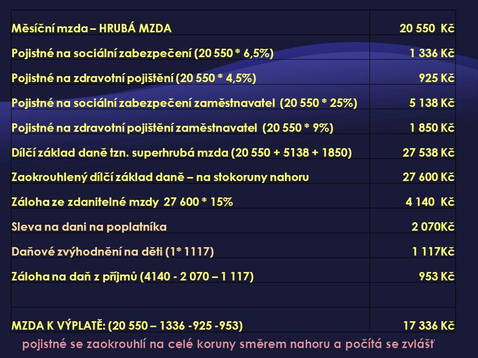 Měsíční mzda – HRUBÁ MZDA20 550 Kč Pojistné na sociální zabezpečení (20 550 * 6,5%)1 336 Kč Pojistné na zdravotní pojištění (20 550 * 4,5%)925 Kč Poji