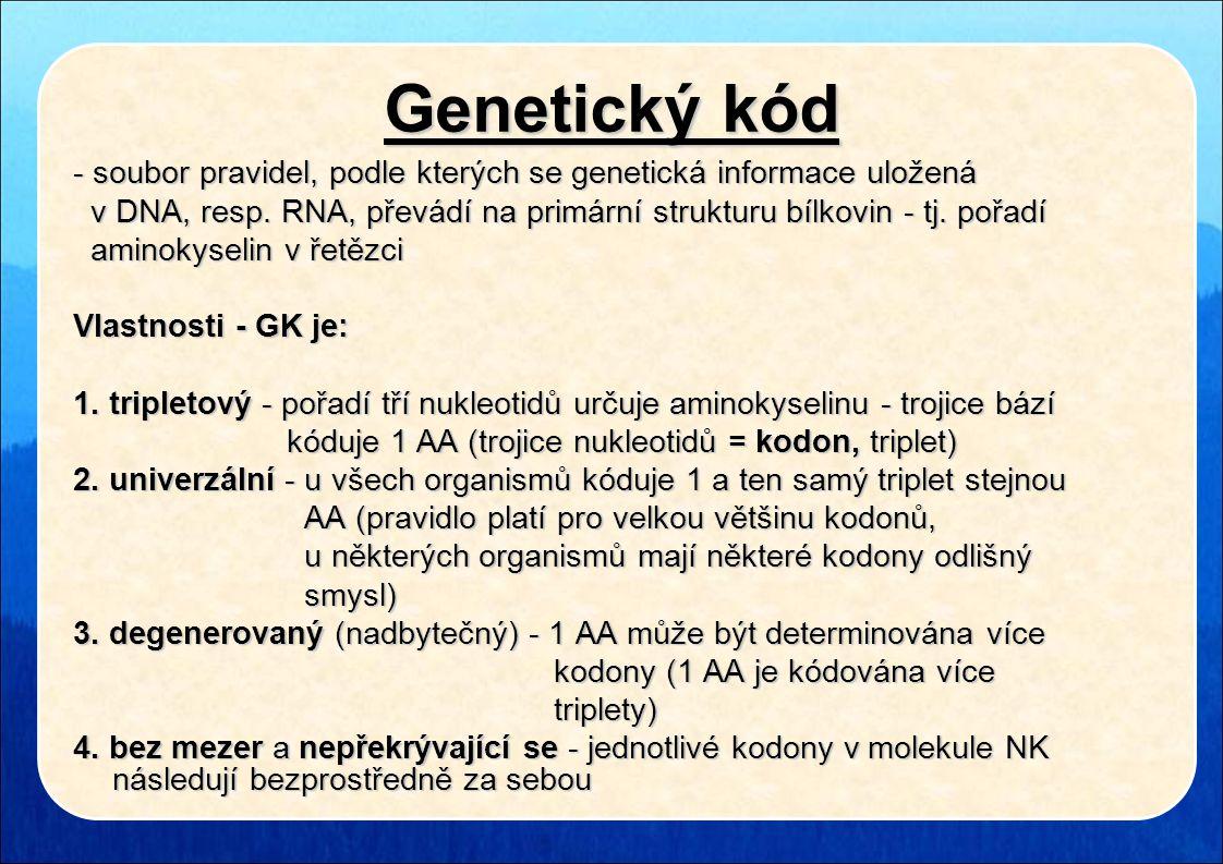 Genetický kód - soubor pravidel, podle kterých se genetická informace uložená v DNA, resp. RNA, převádí na primární strukturu bílkovin - tj. pořadí v