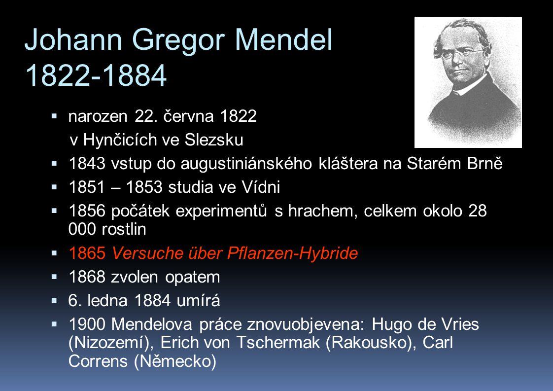 Johann Gregor Mendel 1822-1884  narozen 22. června 1822 v Hynčicích ve Slezsku  1843 vstup do augustiniánského kláštera na Starém Brně  1851 – 1853
