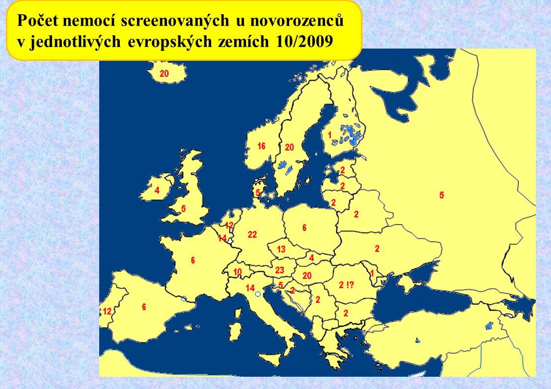Počet nemocí screenovaných u novorozenců v jednotlivých evropských zemích 10/2009