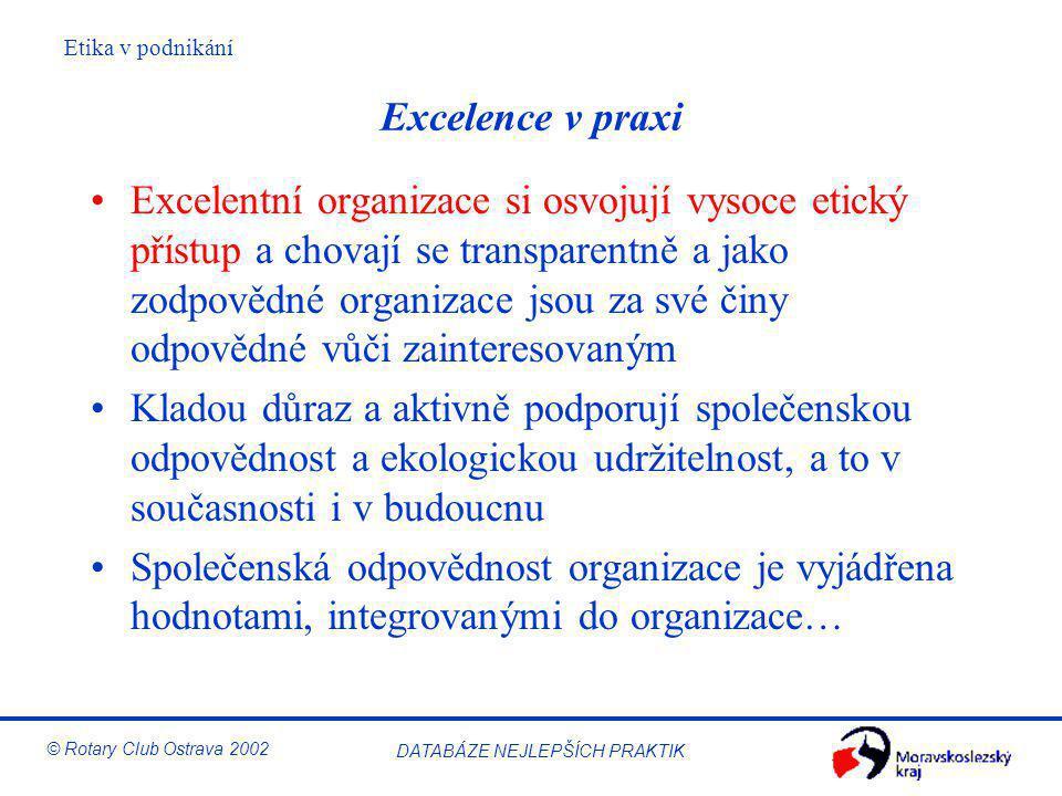 Etika v podnikání © Rotary Club Ostrava 2002 DATABÁZE NEJLEPŠÍCH PRAKTIK Excelence v praxi Excelentní organizace si osvojují vysoce etický přístup a c