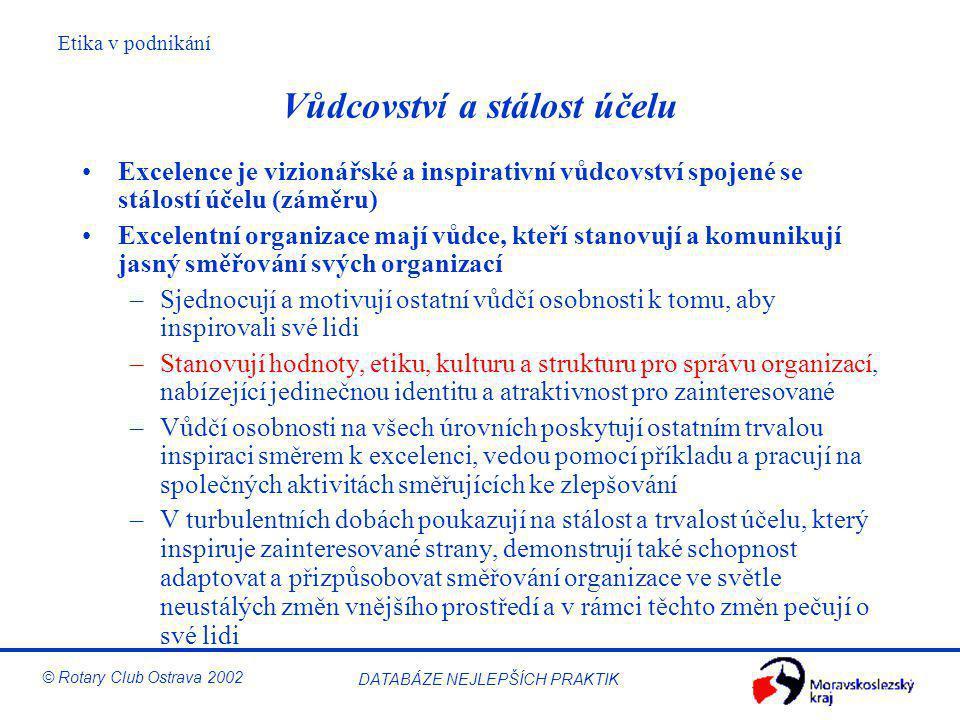 Etika v podnikání © Rotary Club Ostrava 2002 DATABÁZE NEJLEPŠÍCH PRAKTIK Vůdcovství a stálost účelu Excelence je vizionářské a inspirativní vůdcovství