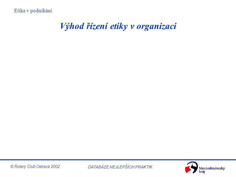 Etika v podnikání © Rotary Club Ostrava 2002 DATABÁZE NEJLEPŠÍCH PRAKTIK Výhod řízení etiky v organizaci