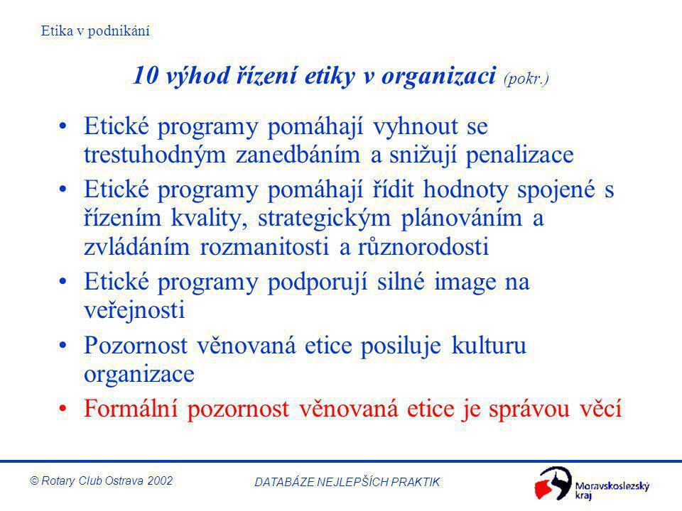 Etika v podnikání © Rotary Club Ostrava 2002 DATABÁZE NEJLEPŠÍCH PRAKTIK 10 výhod řízení etiky v organizaci (pokr.) Etické programy pomáhají vyhnout s