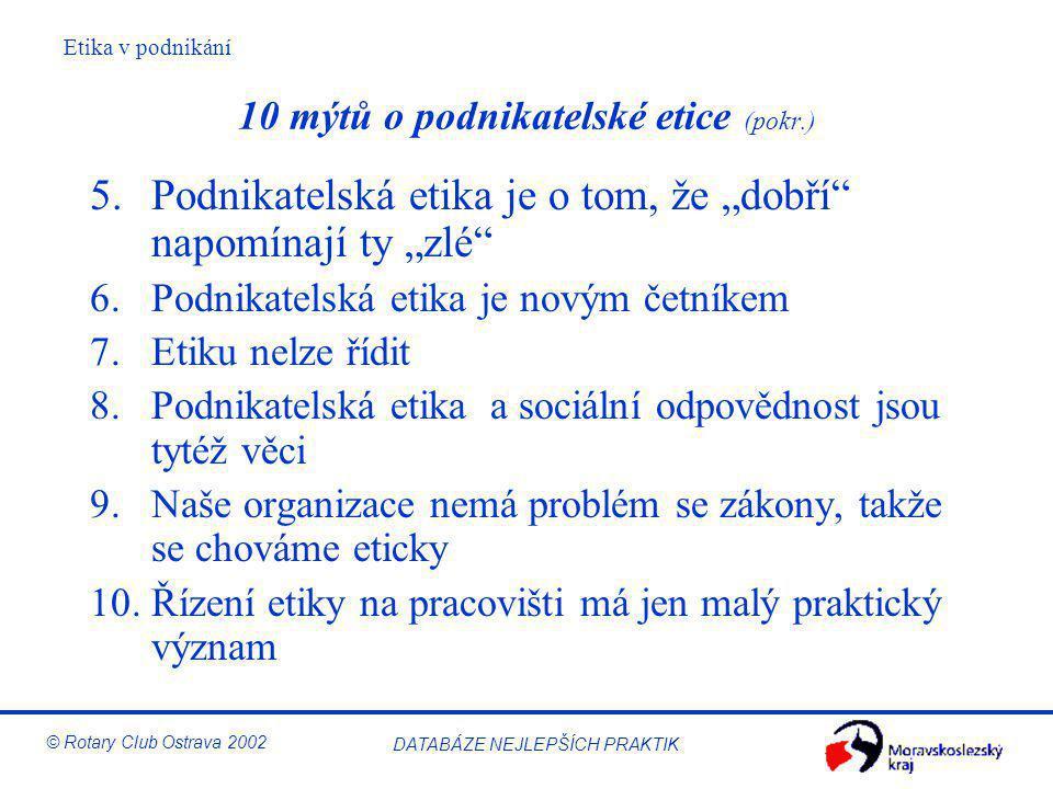 """Etika v podnikání © Rotary Club Ostrava 2002 DATABÁZE NEJLEPŠÍCH PRAKTIK 10 mýtů o podnikatelské etice (pokr.) 5.Podnikatelská etika je o tom, že """"dob"""