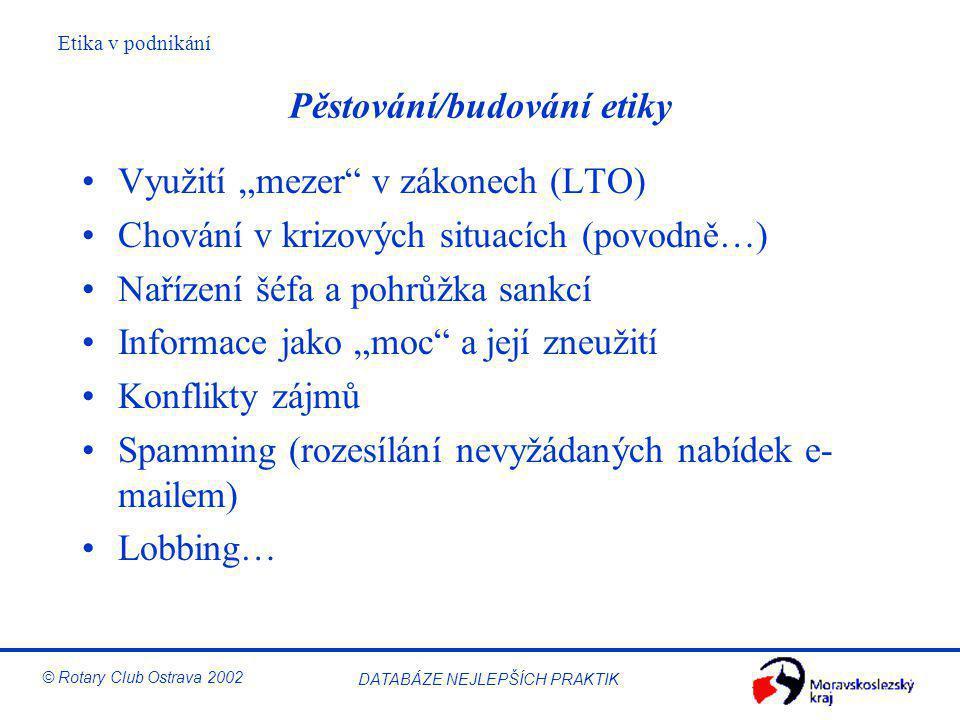 """Etika v podnikání © Rotary Club Ostrava 2002 DATABÁZE NEJLEPŠÍCH PRAKTIK Pěstování/budování etiky Využití """"mezer"""" v zákonech (LTO) Chování v krizových"""
