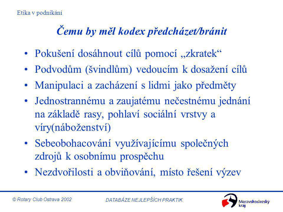 """Etika v podnikání © Rotary Club Ostrava 2002 DATABÁZE NEJLEPŠÍCH PRAKTIK Čemu by měl kodex předcházet/bránit Pokušení dosáhnout cílů pomocí """"zkratek"""""""