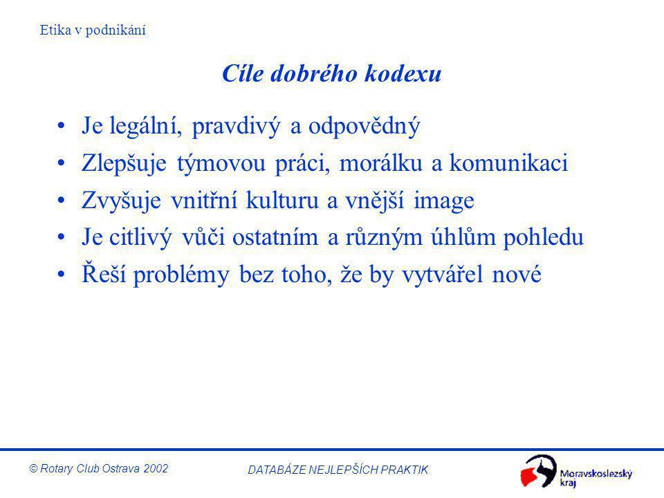 Etika v podnikání © Rotary Club Ostrava 2002 DATABÁZE NEJLEPŠÍCH PRAKTIK Cíle dobrého kodexu Je legální, pravdivý a odpovědný Zlepšuje týmovou práci,