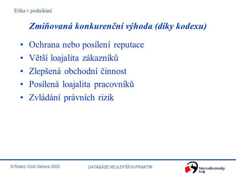 Etika v podnikání © Rotary Club Ostrava 2002 DATABÁZE NEJLEPŠÍCH PRAKTIK Zmiňovaná konkurenční výhoda (díky kodexu) Ochrana nebo posílení reputace Vět