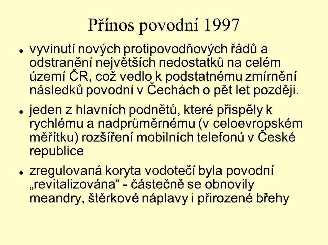Přínos povodní 1997 vyvinutí nových protipovodňových řádů a odstranění největších nedostatků na celém území ČR, což vedlo k podstatnému zmírnění násle
