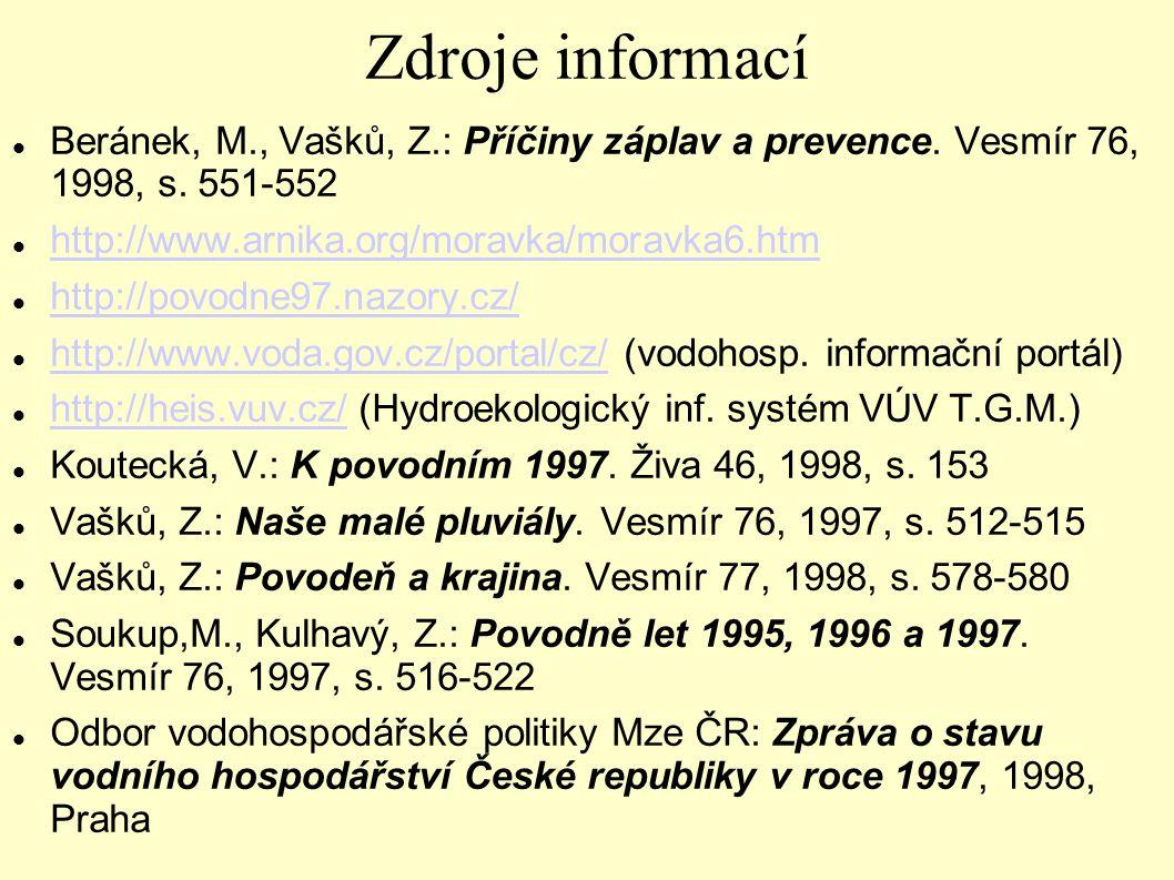 Zdroje informací Beránek, M., Vašků, Z.: Příčiny záplav a prevence. Vesmír 76, 1998, s. 551-552 http://www.arnika.org/moravka/moravka6.htm http://povo