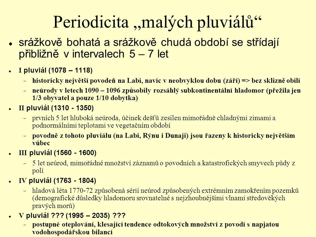 """Periodicita """"malých pluviálů"""" srážkově bohatá a srážkově chudá období se střídají přibližně v intervalech 5 – 7 let I pluviál (1078 – 1118)  histori"""