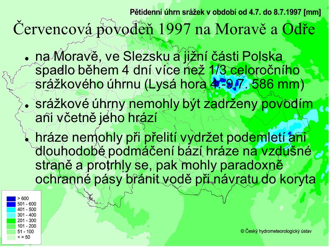 Červencová povodeň 1997 na Moravě a Odře na Moravě, ve Slezsku a jižní části Polska spadlo během 4 dní více než 1/3 celoročního srážkového úhrnu (Lysá