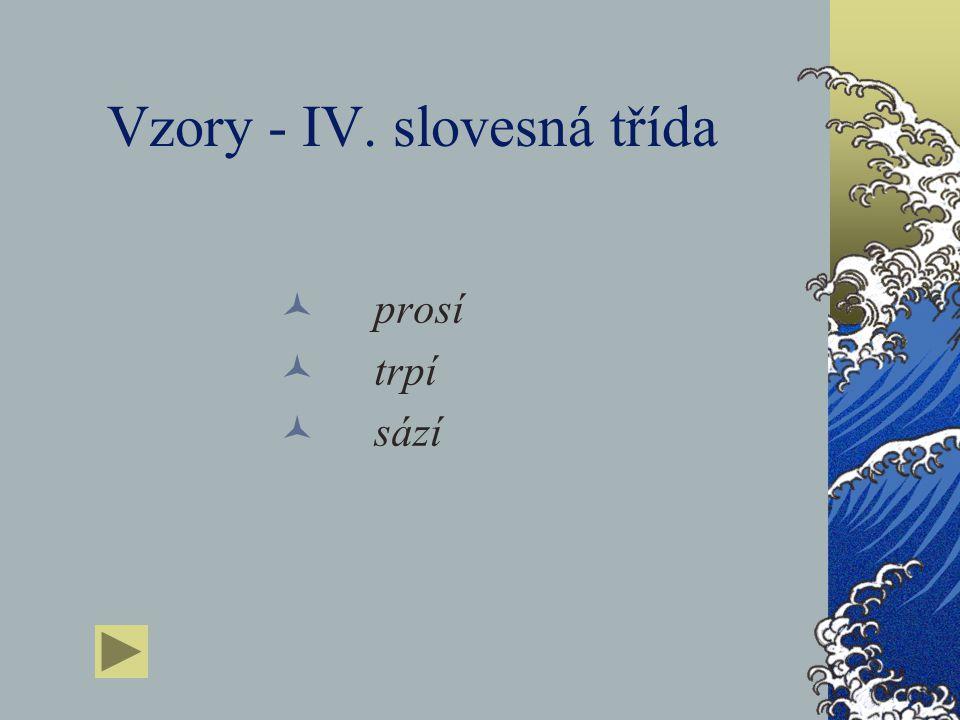 Vzory - III. slovesná třída kryje kupuje